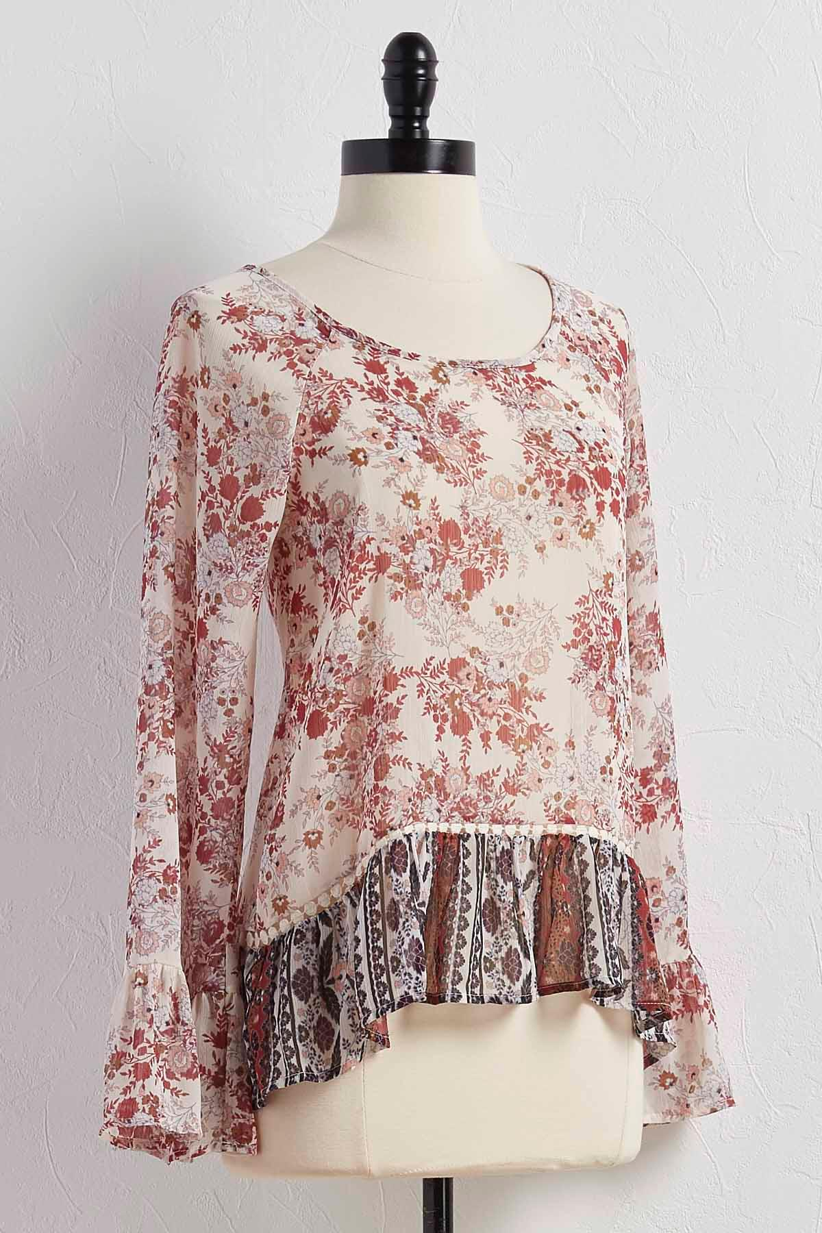 Ruffled Mixed Print Poet Top