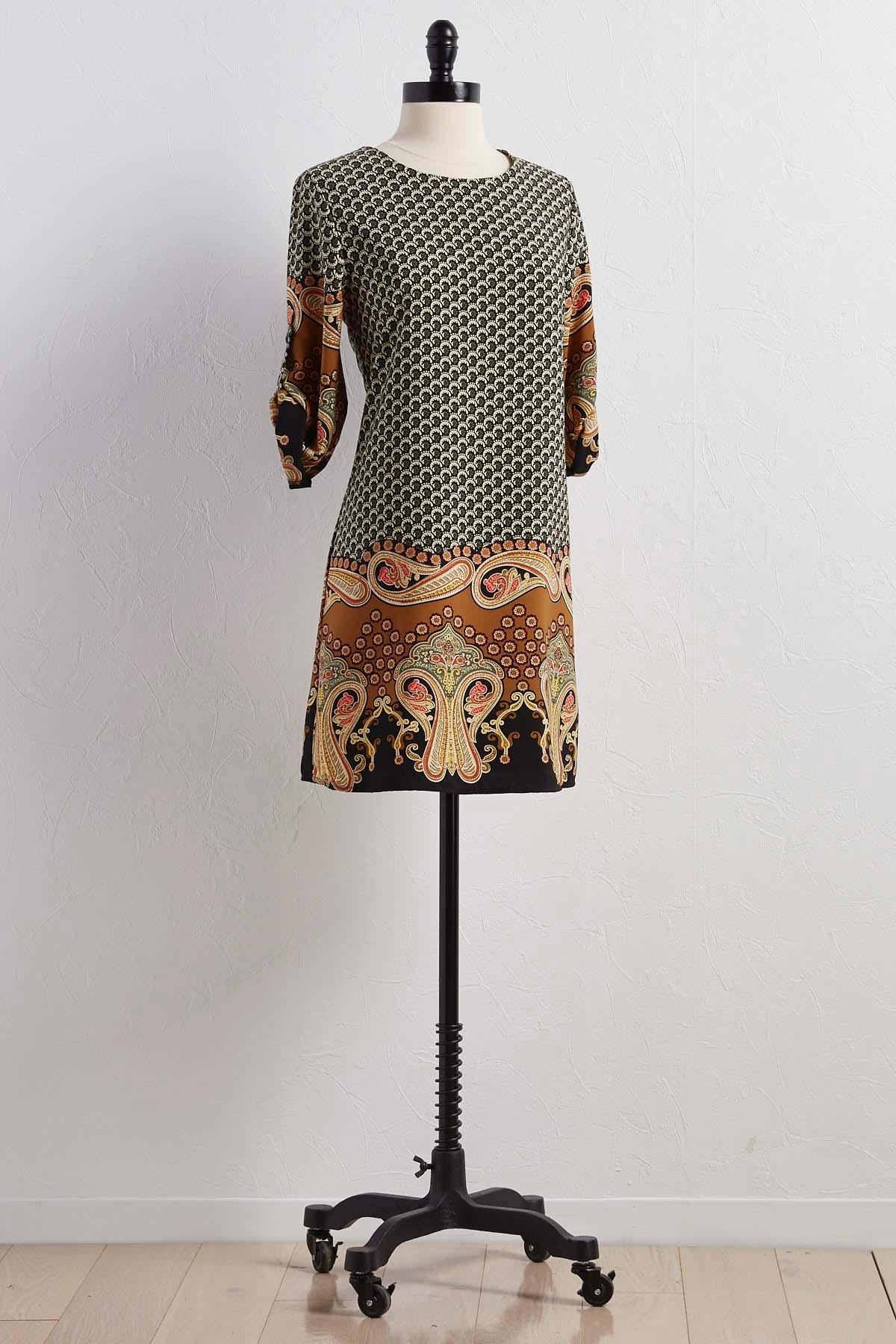 Paisley Bordered Shift Dress