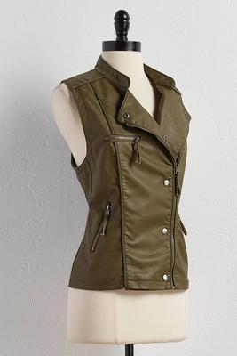 asymmetrical zip moto vest