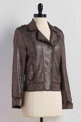 metallic crackle moto jacket