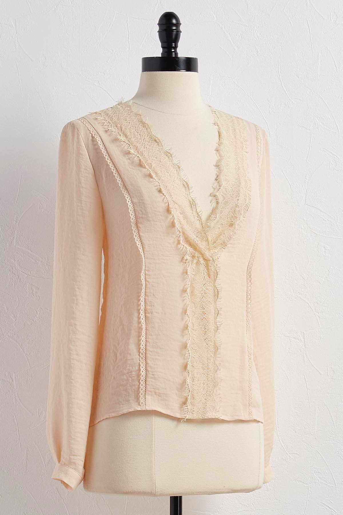 Lace Trim Sheer Top