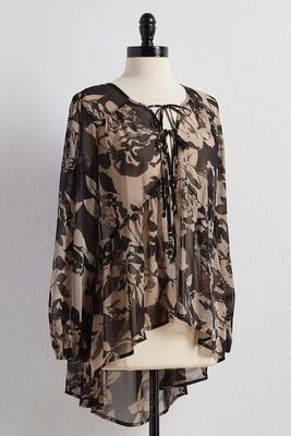 double tie neck floral poet top