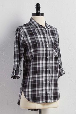 plaid high-low button down shirt