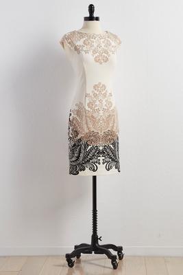floral placement ponte sheath dress
