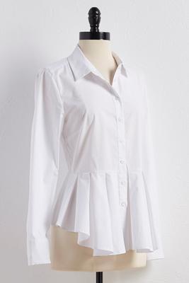 pleated peplum button down shirt