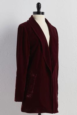 button sleeve velvet jacket