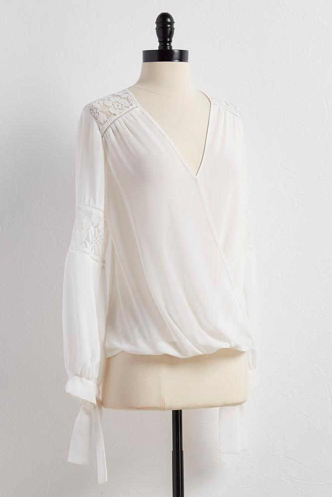 Lace Inset Surplice Top