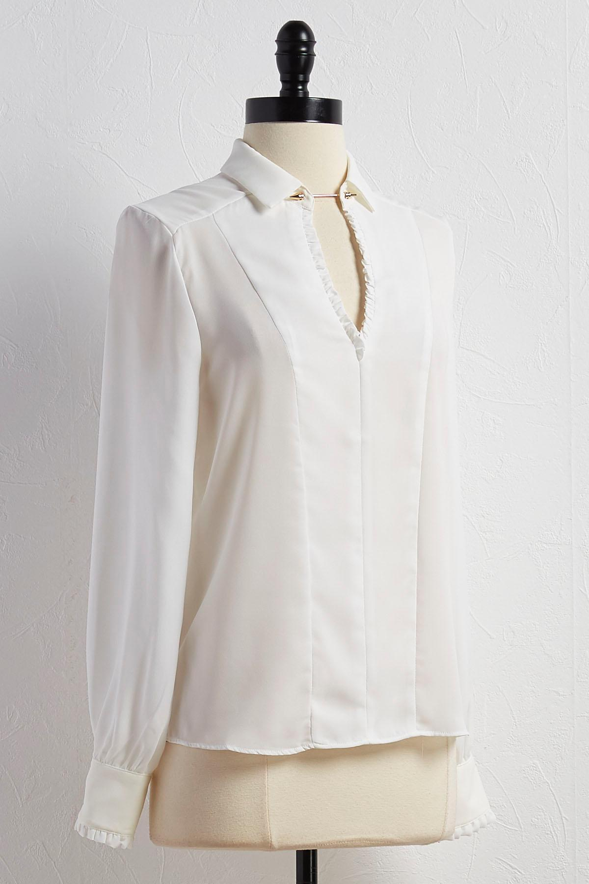 Ruffled Trim Bar Neck Blouse