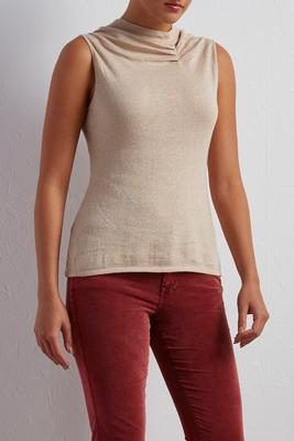 pleated mock neck sweater tank