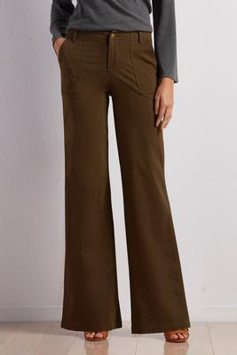 patch pocket wide leg pants