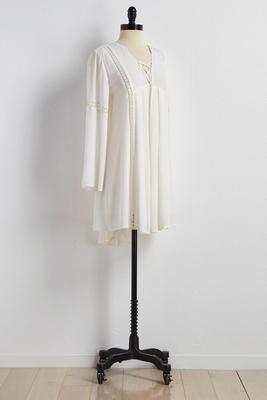 lace up high-low trapeze dress