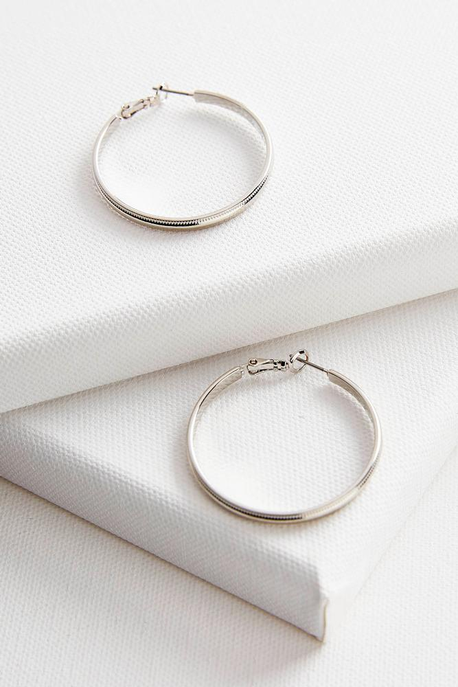 Etched Border Brass Hoop Earrings