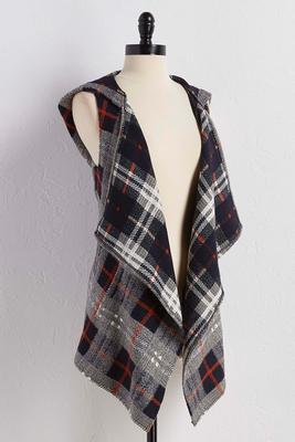 hooded waterfall plaid vest