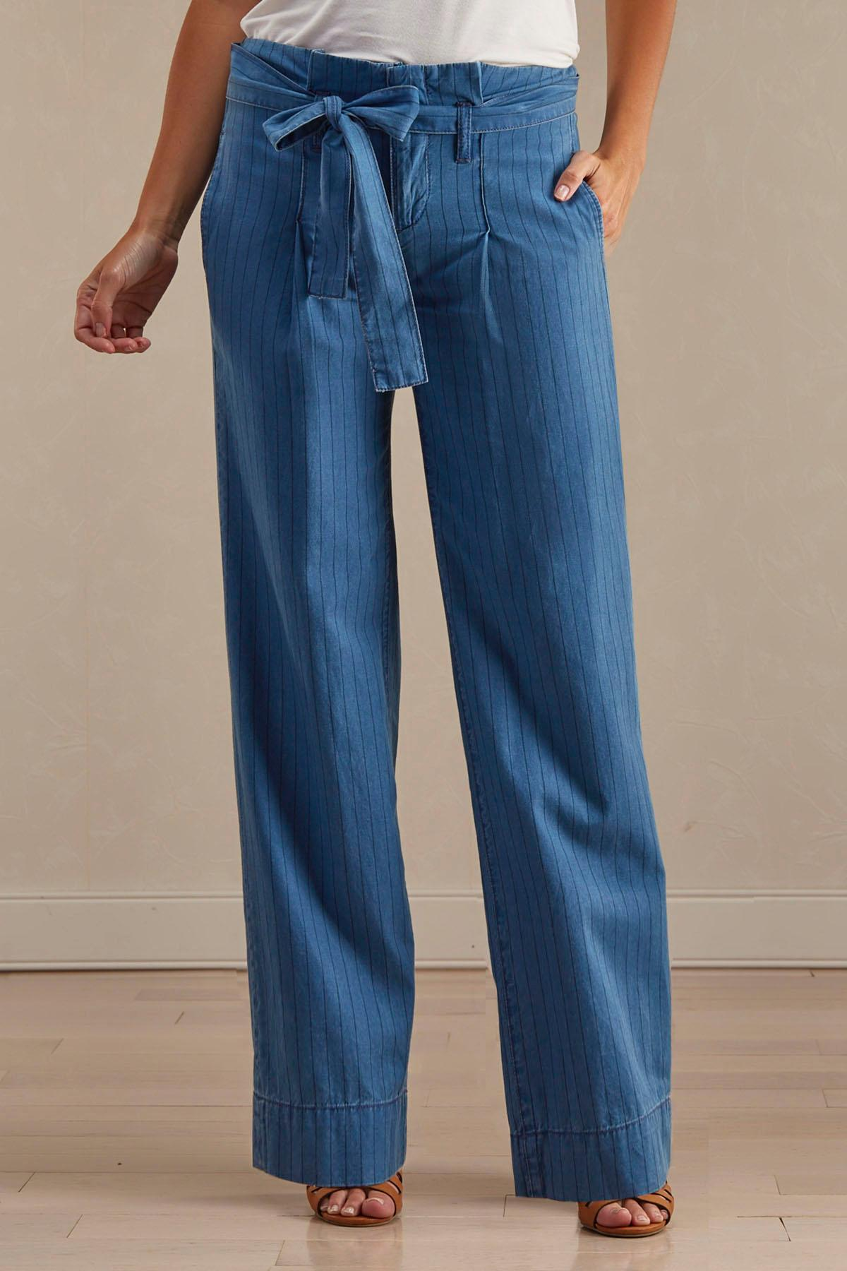 Pinstriped Wide Leg Paper Bag Pants