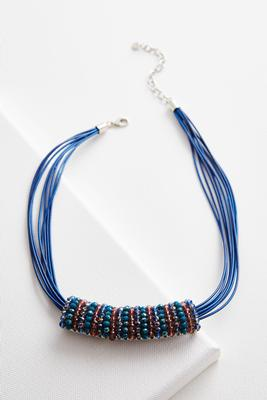 beaded bar cord necklace