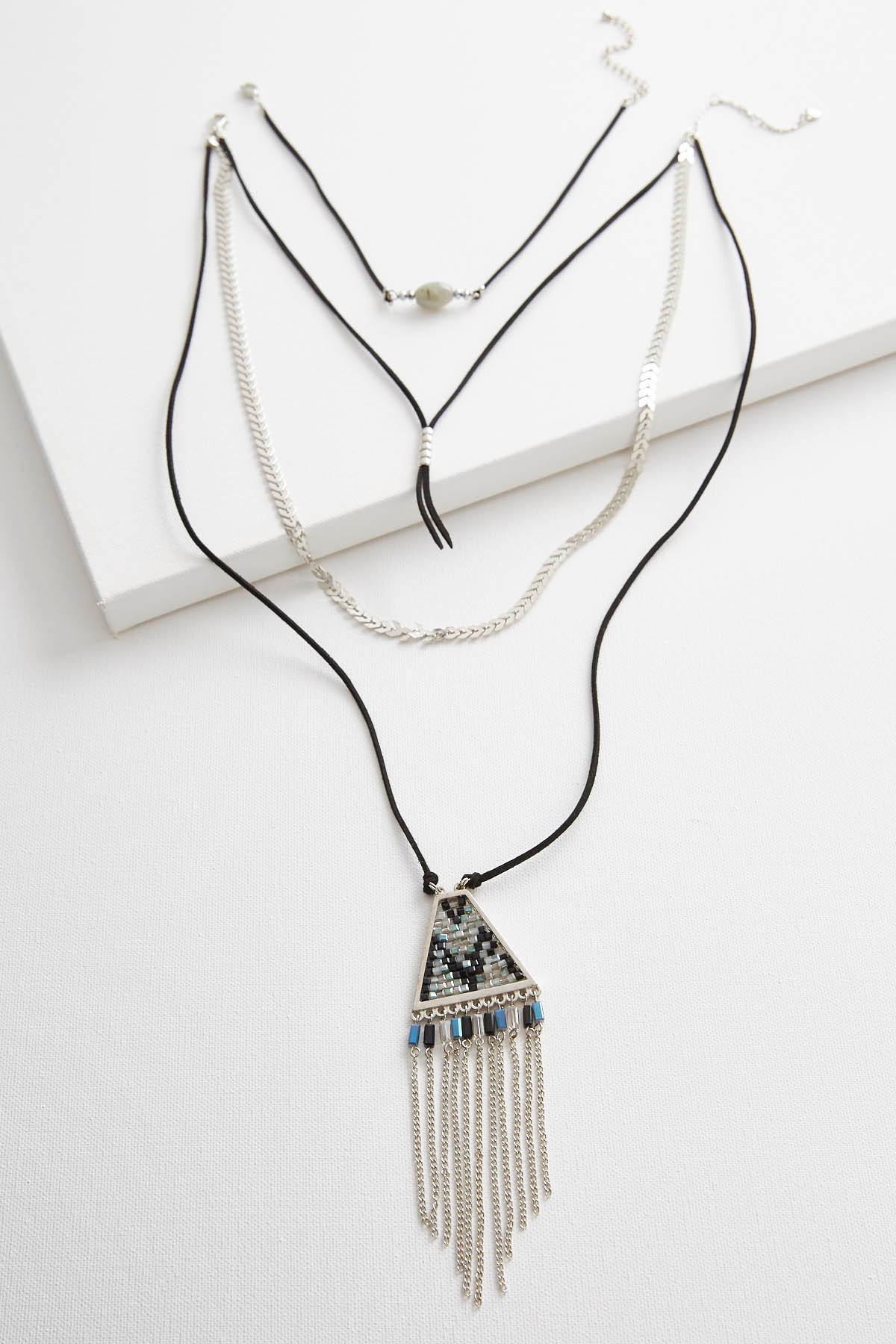 Faux Suede Cord Necklace Set