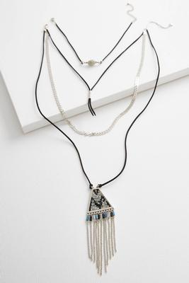 faux suede cord necklace set