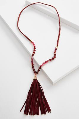 braided cord tassel beaded necklace