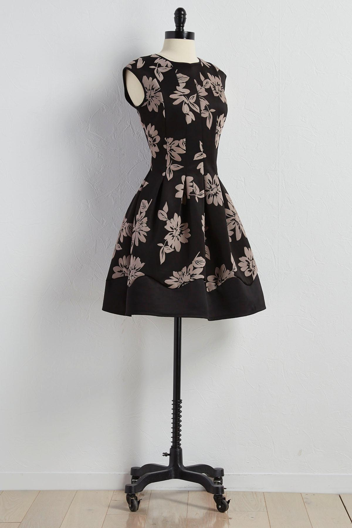 Velvet Floral Applique Fit And Flare Dress