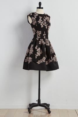 velvet floral applique fit and flare dress