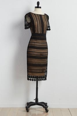 crochet overlay midi dress
