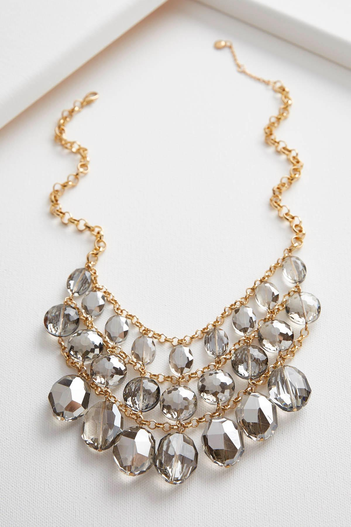 Webbed Crystal Stone Bib Necklace