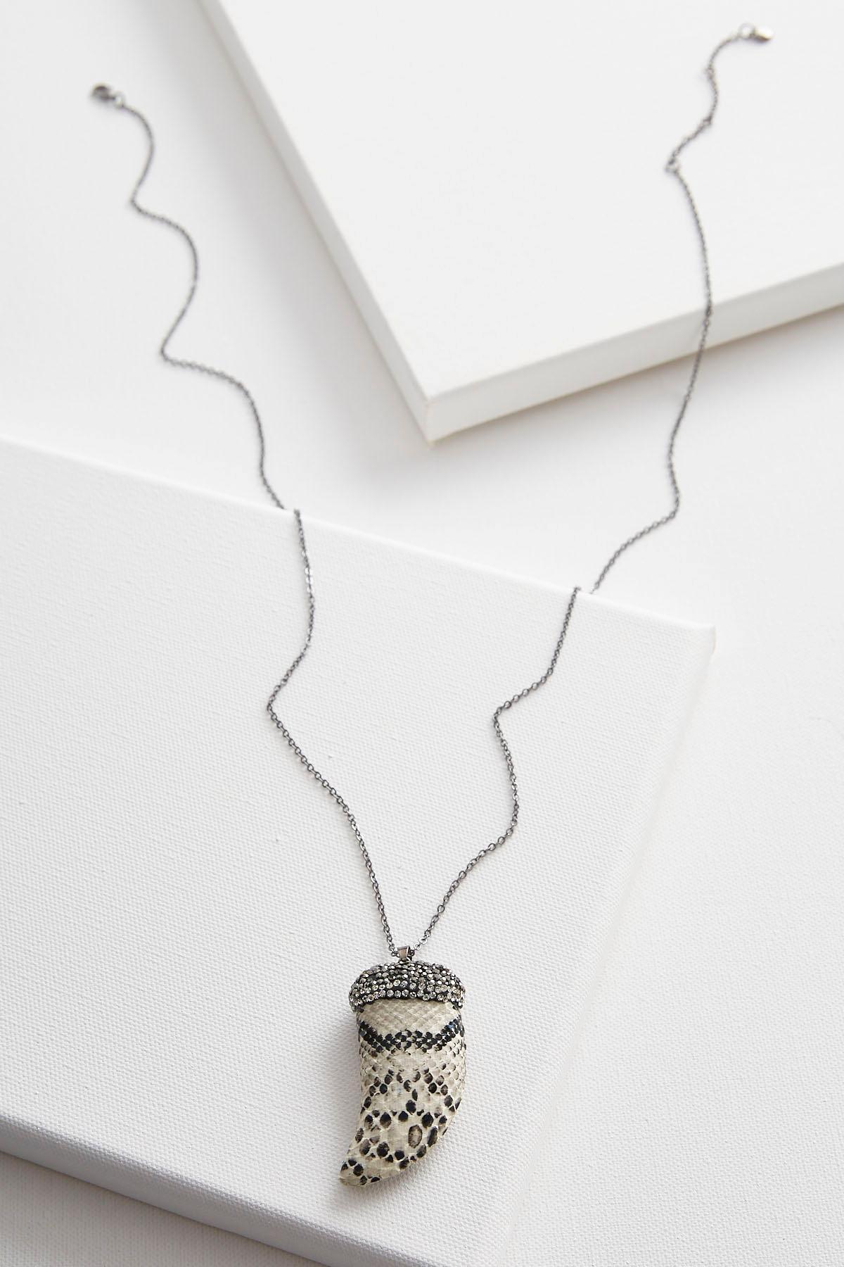 Snakeskin Horn Pendant Necklace