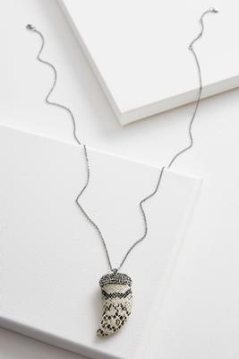 snakeskin horn pendant necklace