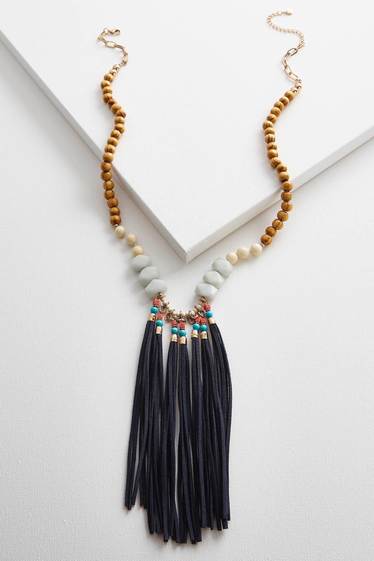 Mixed Bead Tassel Pendant Necklace