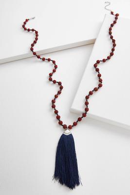 textured bead tassel pendant necklace