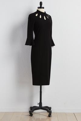 cutout mock neck sweater dress