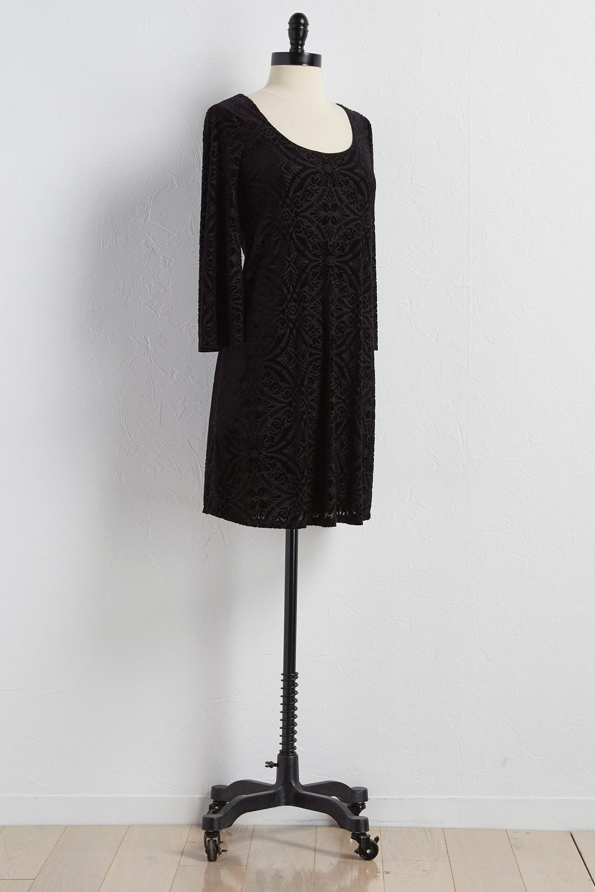 Velvet Lattice Back Shift Dress