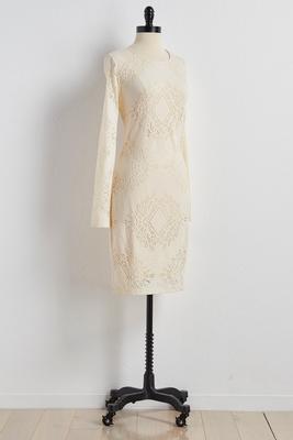 lace cutout back sheath dress