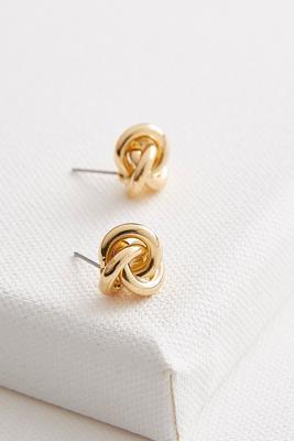 knot stud brass earrings