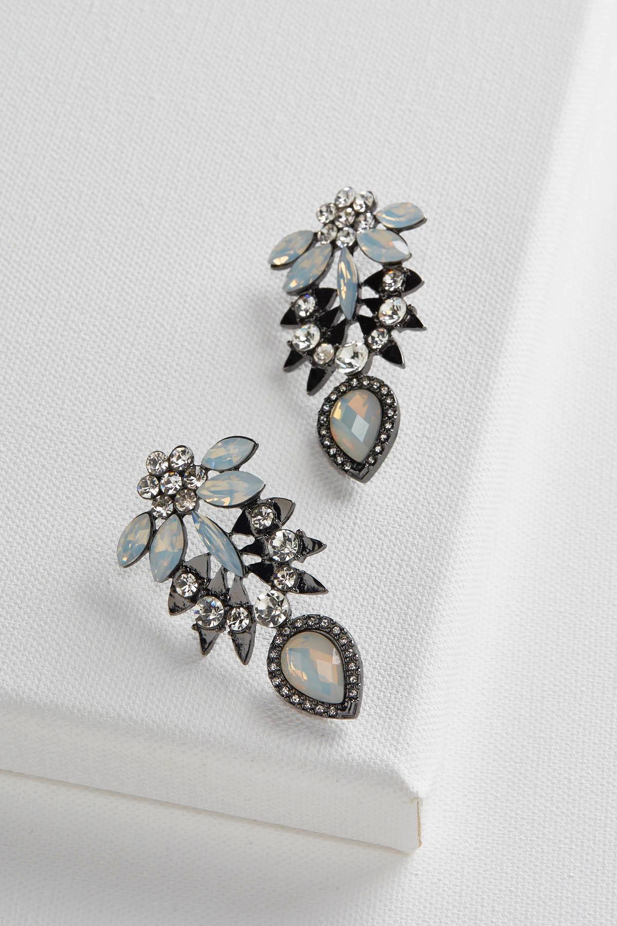 Stone Petal Statement Earrings