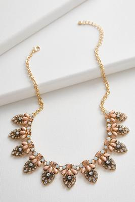 crystal petal bib necklace