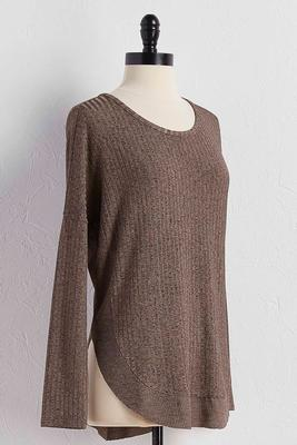 mixed ribbed tunic