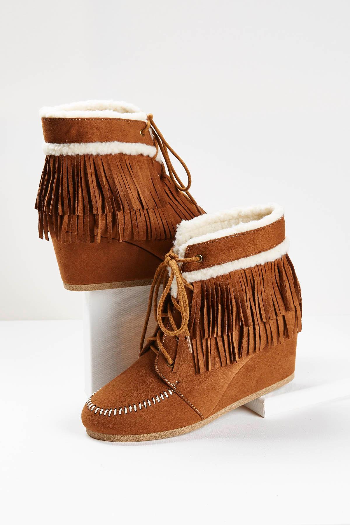 Sherpa Trim Fringe Wedge Boots