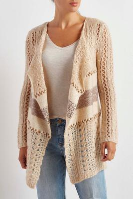 striped inset waterfall cardigan