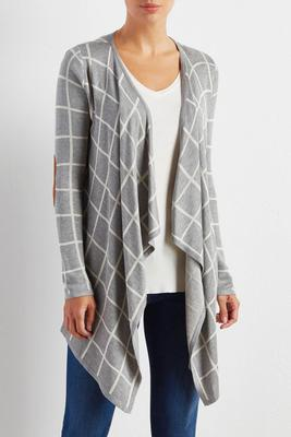 windowpane waterfall cardigan