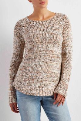 marled curve hem sweater