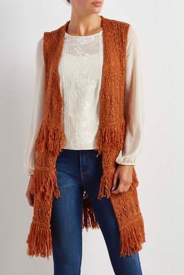 tiered fringe sweater vest
