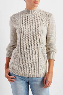 mixed cable knit mock neck sweater
