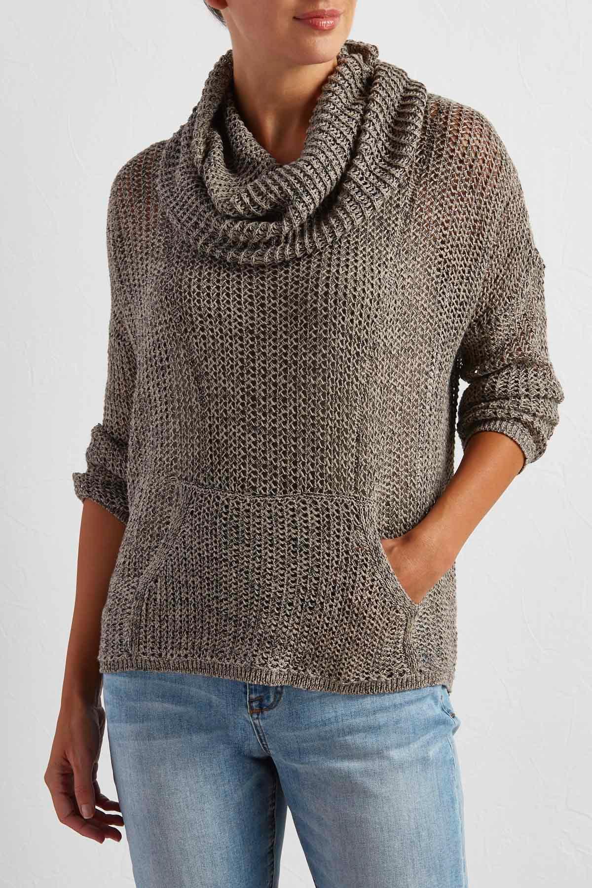 Fishnet Cowl Neck Sweater