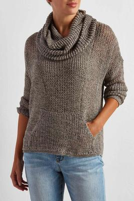 fishnet cowl neck sweater