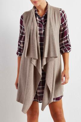 mixed knit draped sweater vest