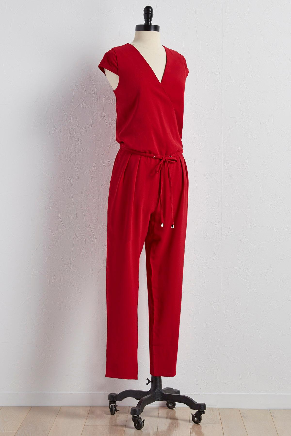 Drawstring Surplice Neck Jumpsuit