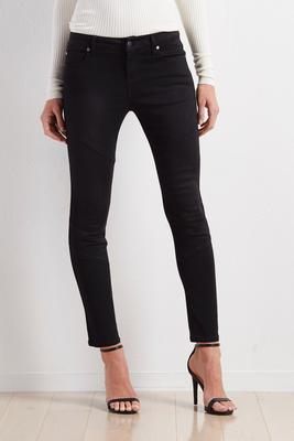 diagonal seamed moto skinny pants