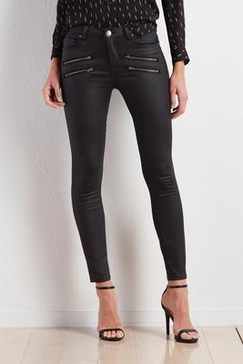 exposed zipper coated skinny pants
