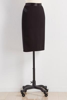 satin trim pencil skirt